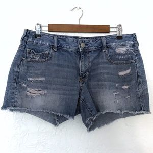 American Eagle cut off raw hem denim shorts sz 14